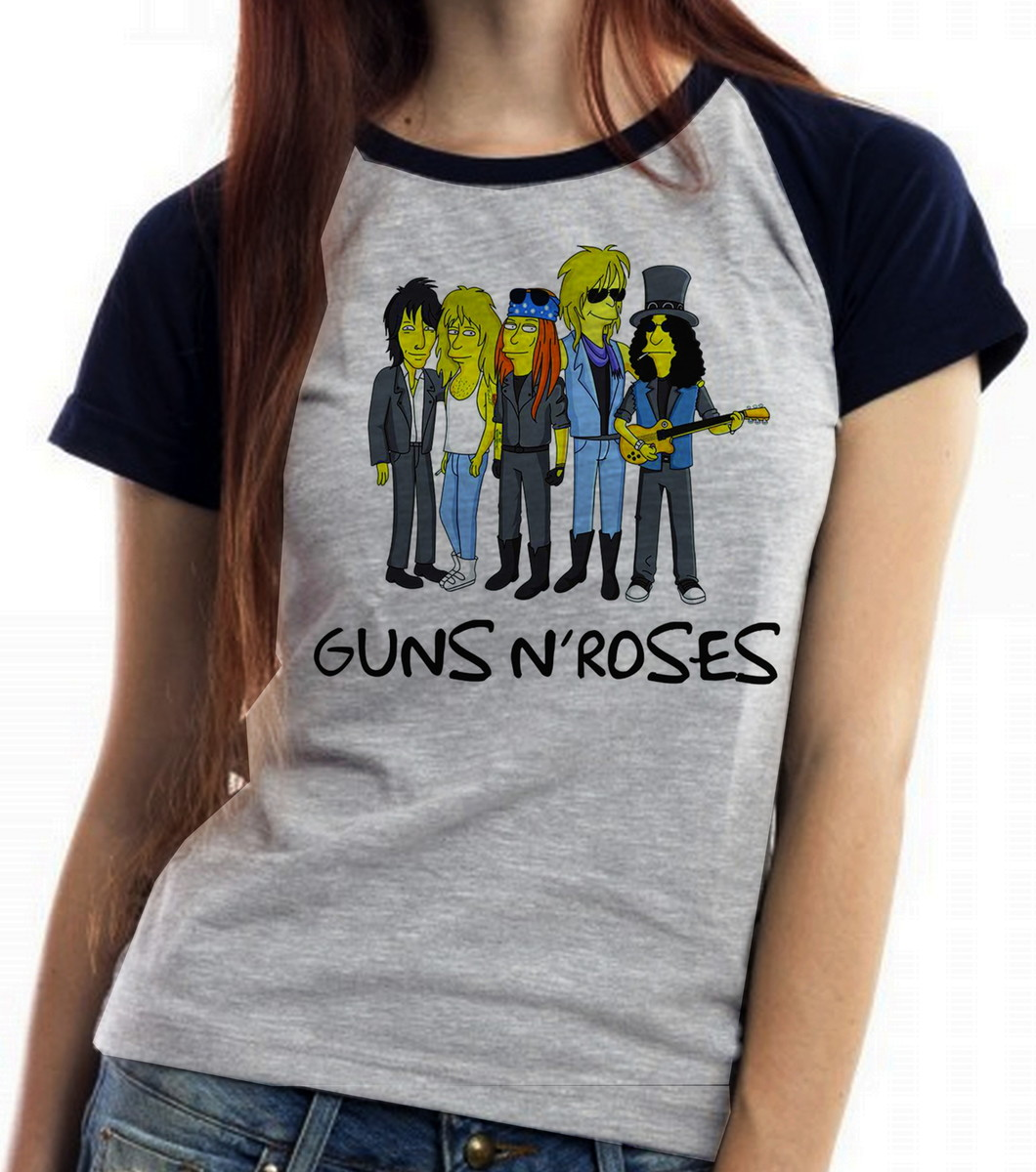 7c1d2bd528 blusa feminina baby look simpsons guns in roses banda rock no Elo7 ...