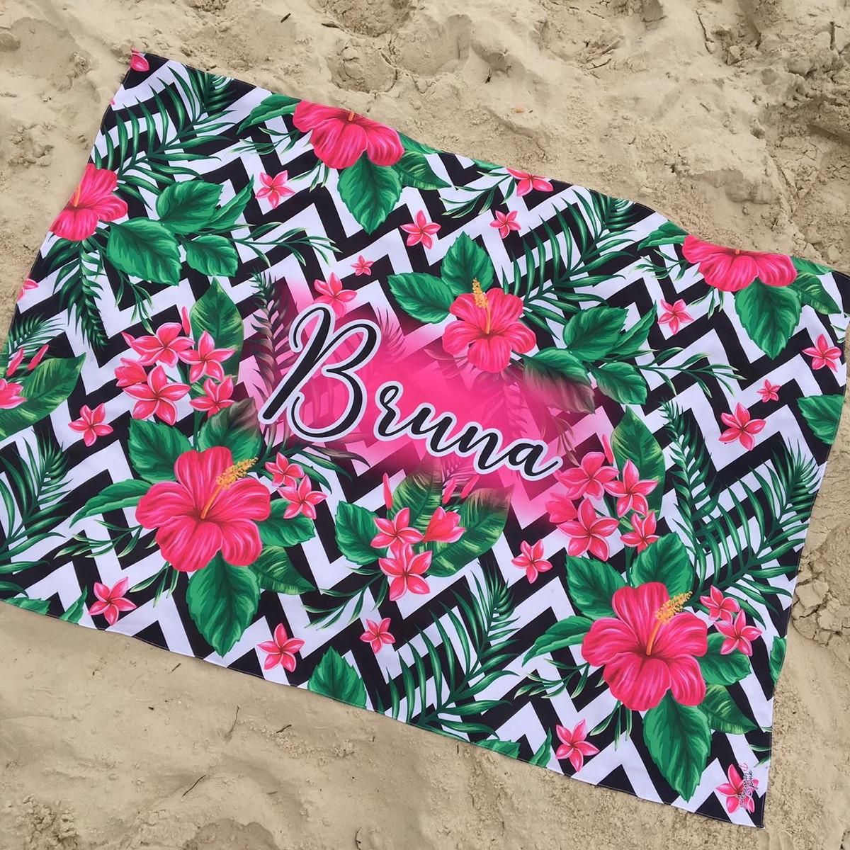 98ce51fbce17 Canga Personalizada Hibiscus + Mini pompons no Elo7 | Âncora pink ...