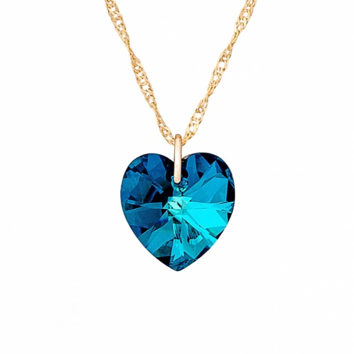 58d74db8a9944 Gargantilha Coração Bermuda Blue com Cristal Swarovski 10mm no Elo7 ...