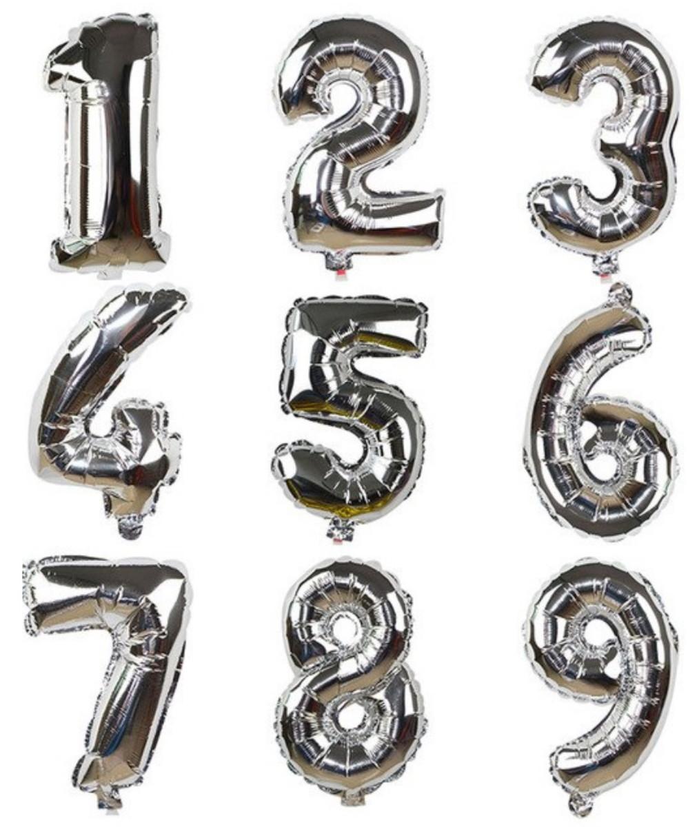 34d349786 Bexiga brilhante de letras e números -Tamanho médio 40 Prata no Elo7 ...