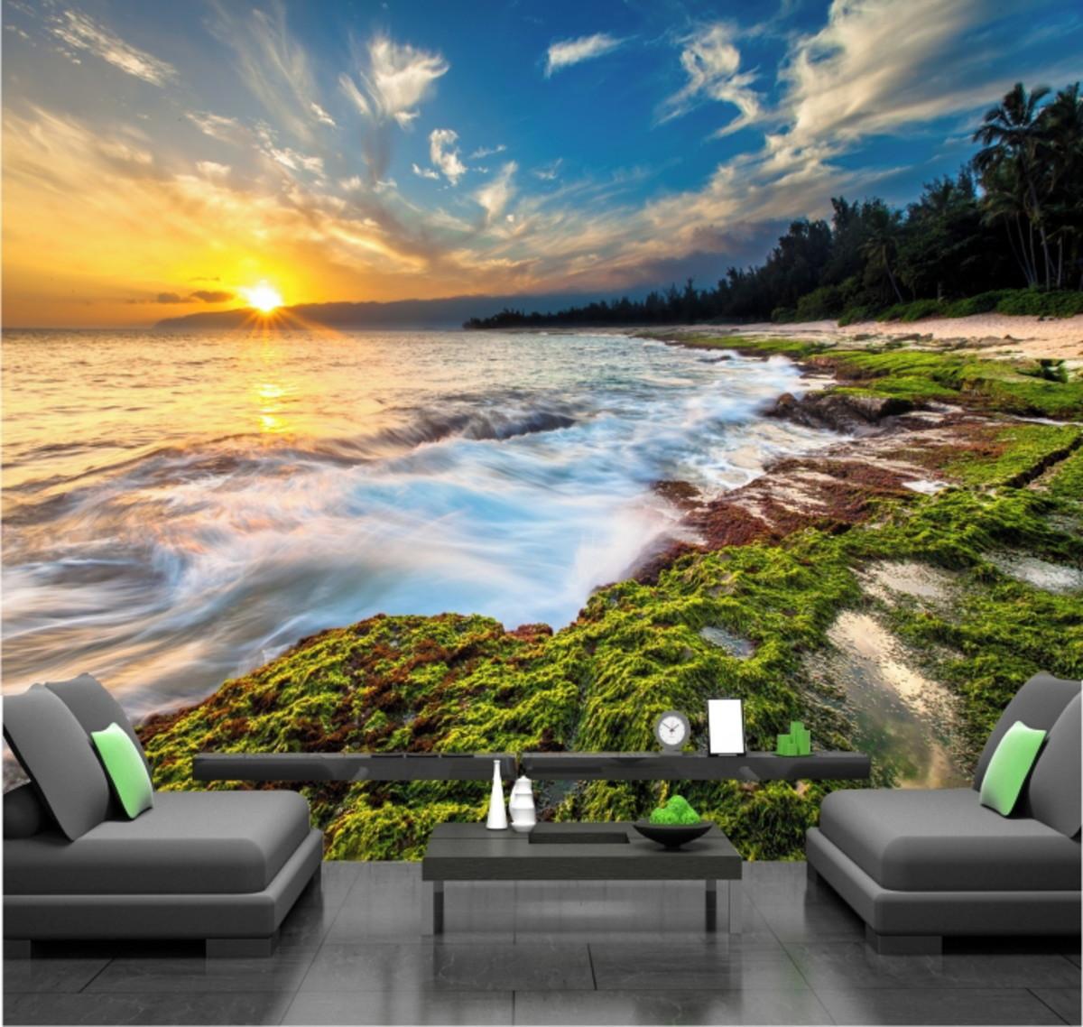 Papel De Parede Por Do Sol Praia Mar Natureza Paisagem Gg290 No