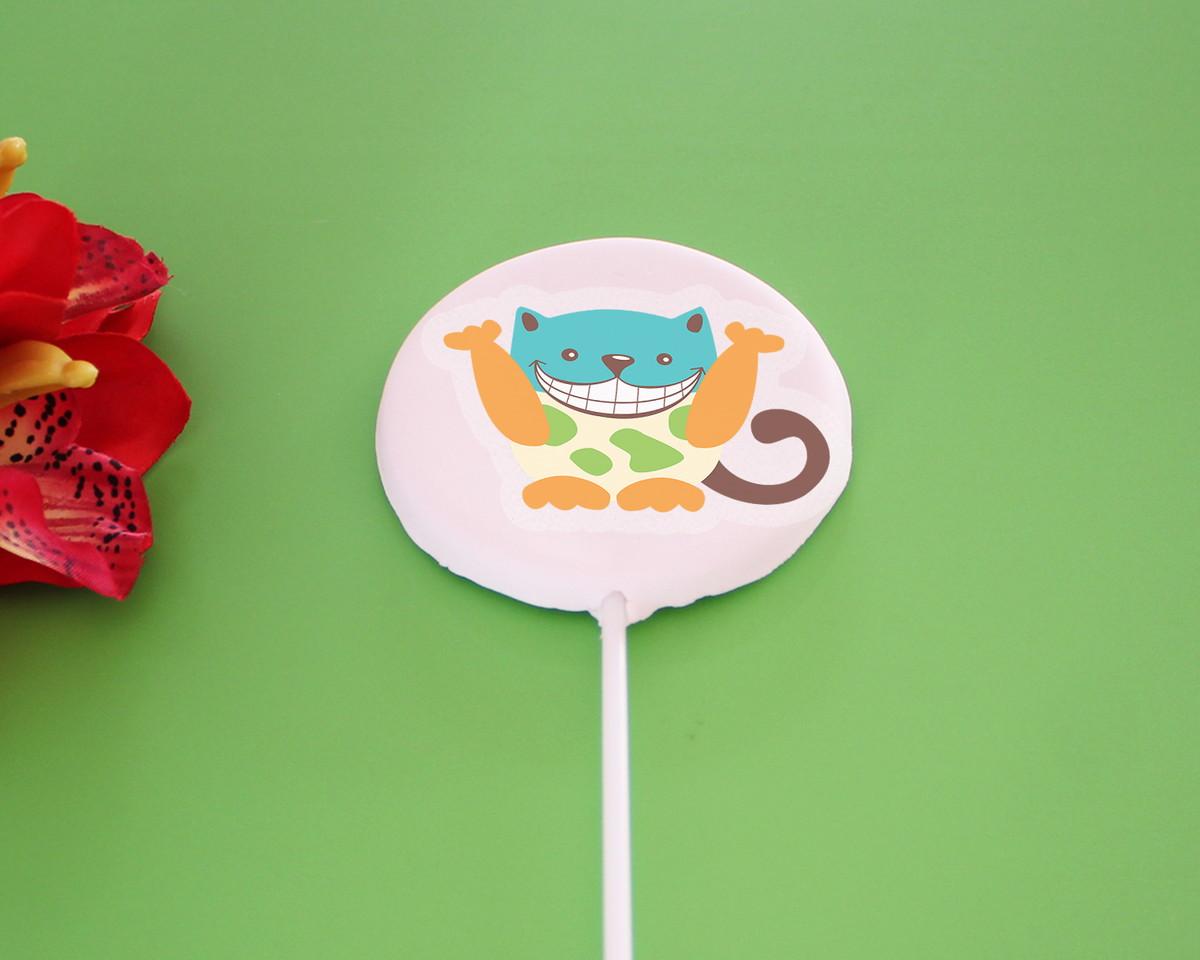 5af7e013dd248c Aplique/papel arroz comestível – gato colorido e divertido