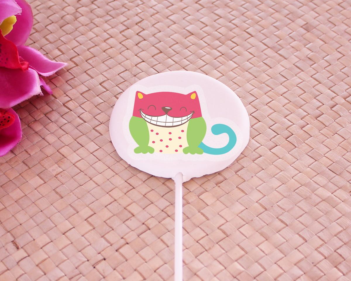 d0a2162c170657 Aplique/papel arroz comestível - gato colorido e divertido