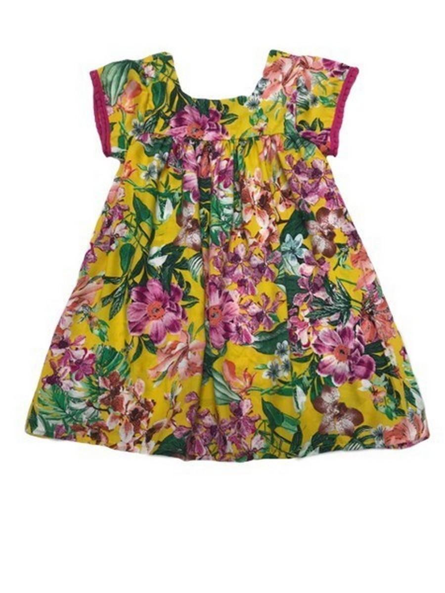 d025ae653 Vestido Viscose Floral Amarelo no Elo7 | Pekenitos (E3FF85)