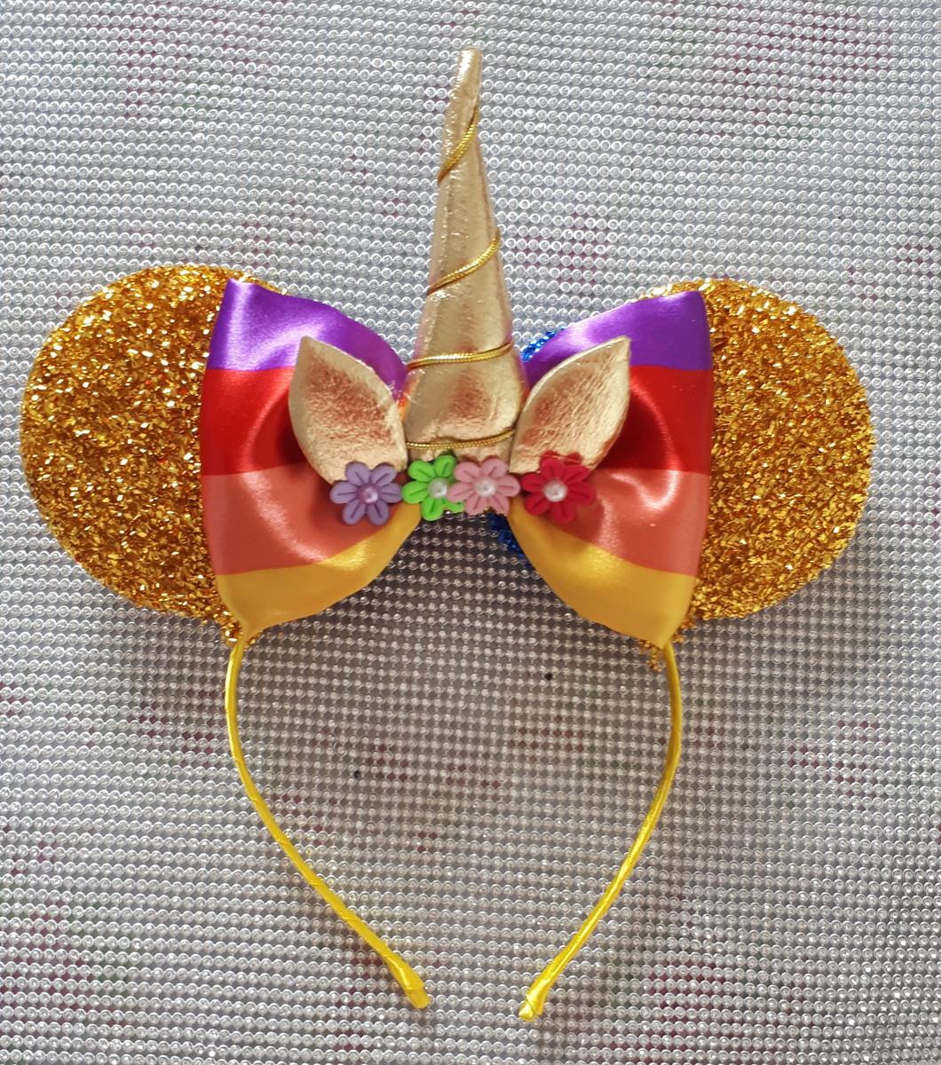 Orelha Minie Unicórnio Amarelo Ouro No Elo7 Jujuba Tiaras E