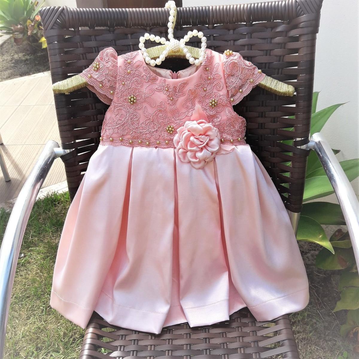 25e3d9cd0 vestido infantil festa salmão aniversário luxo no Elo7
