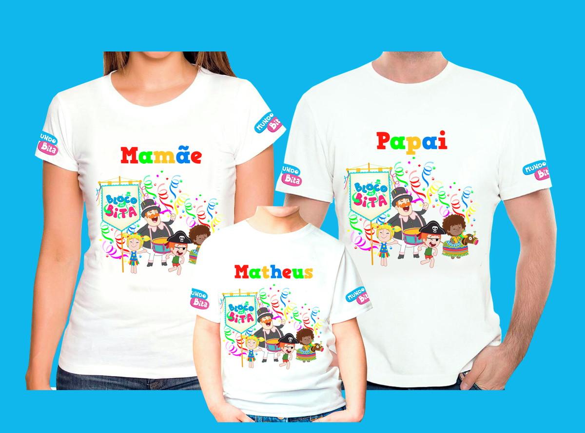 Kit 3 Camisetas Personalizadas Mundo Bita Carnaval no Elo7  68a2429774f15