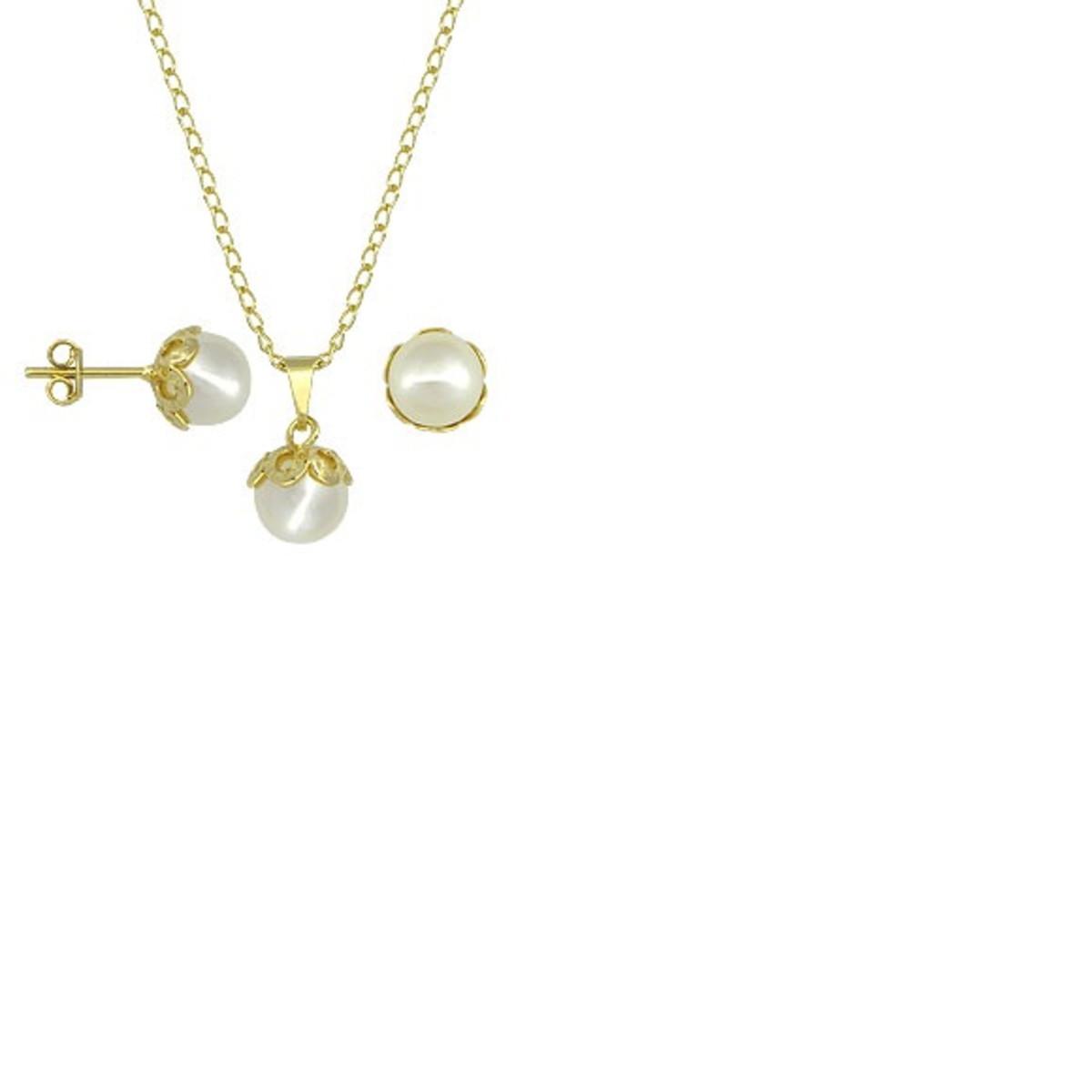 Conjunto folheado ouro com brincos e pingentes pérola branca no Elo7 ... c5ce0c3749