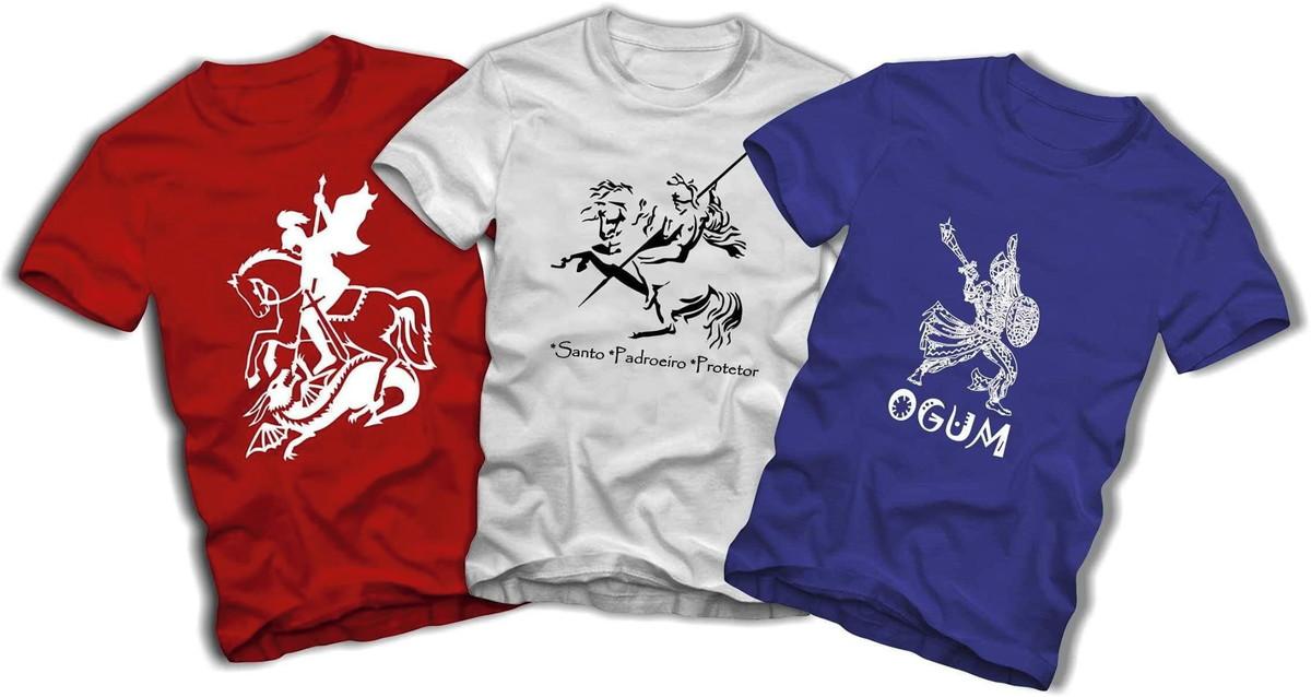 2170c3ffe Kit 3 Camisetas Tamanho Especial Plus Size Ogum e São Jorge no Elo7 ...