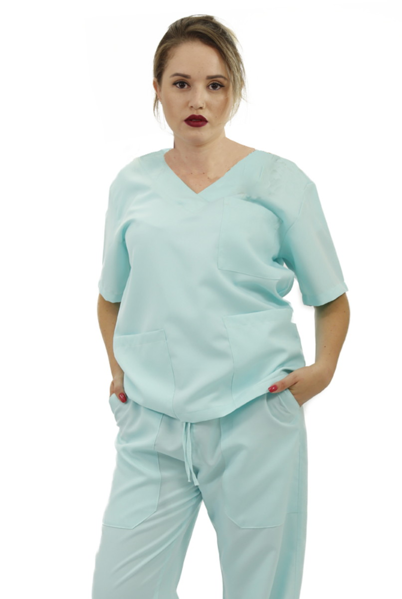 Pijama cirúrgico Oxford feminino Premium (verde piscina) no Elo7 ... 447414e4f0b5b