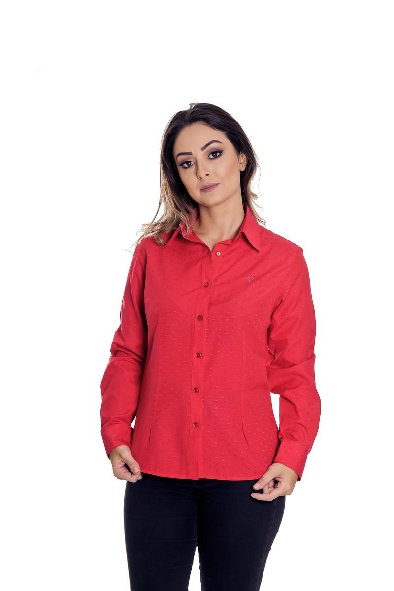 57d4b1a32c Camisa Social Feminina Vermelha Tiessa - Pimenta Rosada no Elo7 ...