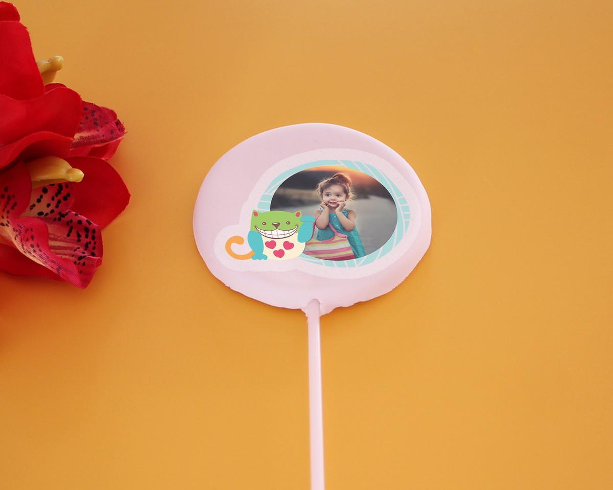 66fafe3d0ee634 Aplique/papel arroz comestível com foto - gato colorido