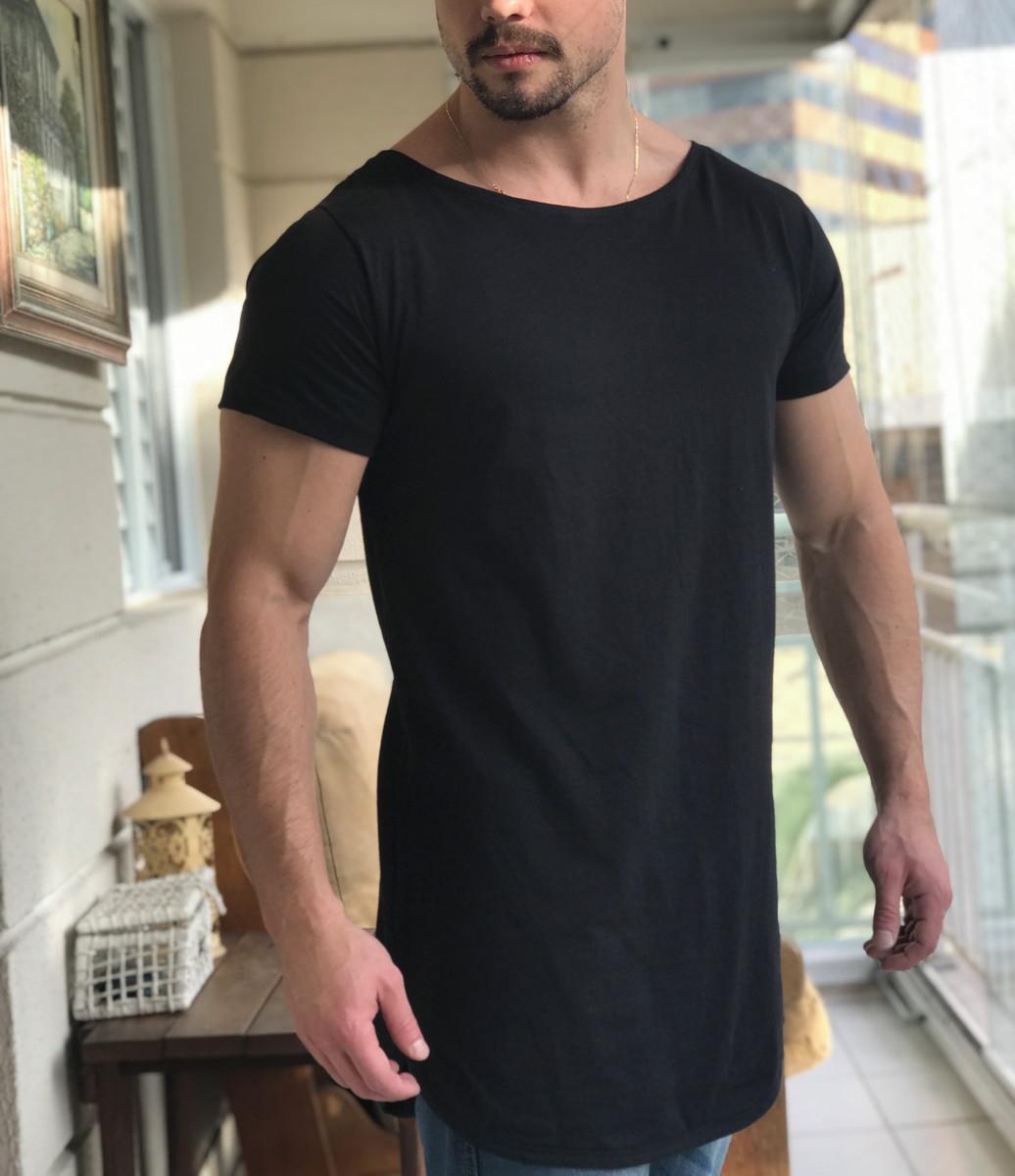 d5a2138709 Camiseta Preta Oversized Longline Alongada Masculina no Elo7