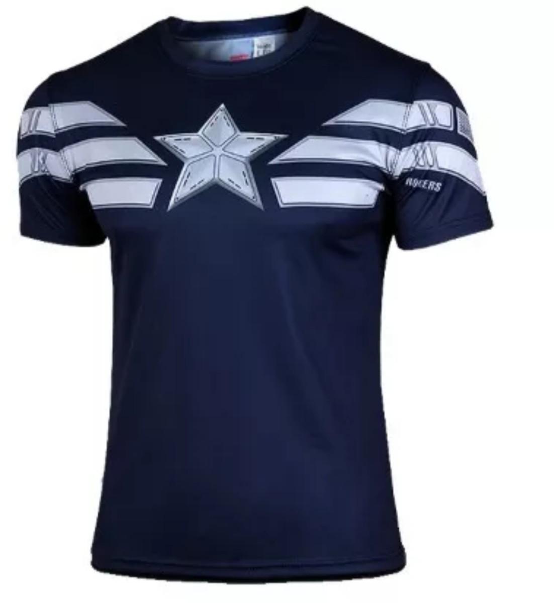 Camisa Compressão Capitão América Camiseta Manga Curta Slim no Elo7 ... 536a717fca343