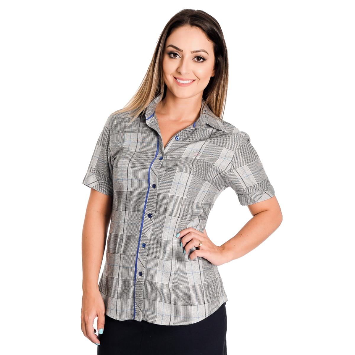 898853d5a5 Camisa Xadrez Feminina Elis - Pimenta Rosada no Elo7