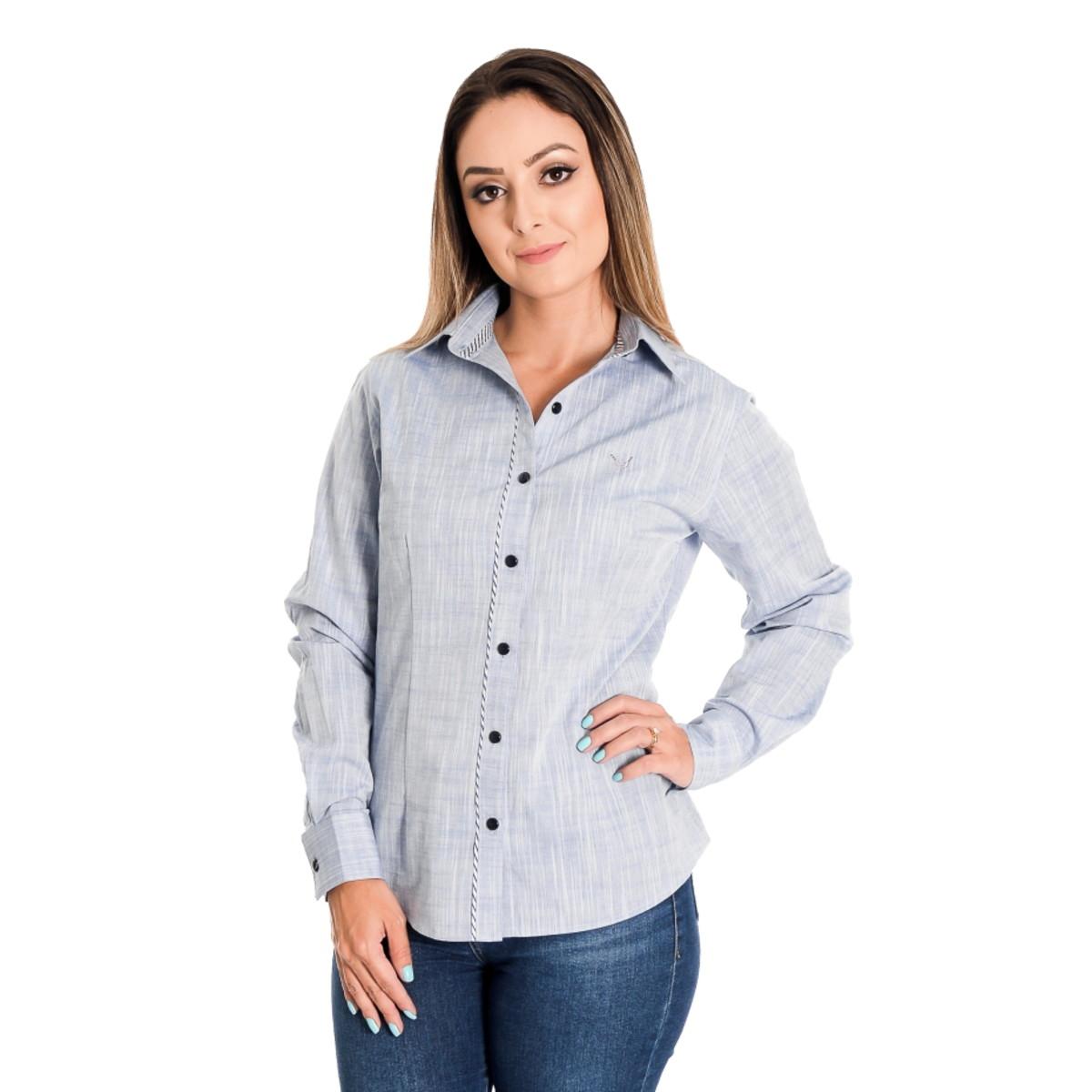 Camisa Feminina Azul Clara Milena - Pimenta Rosada no Elo7  f46bce7b75f24