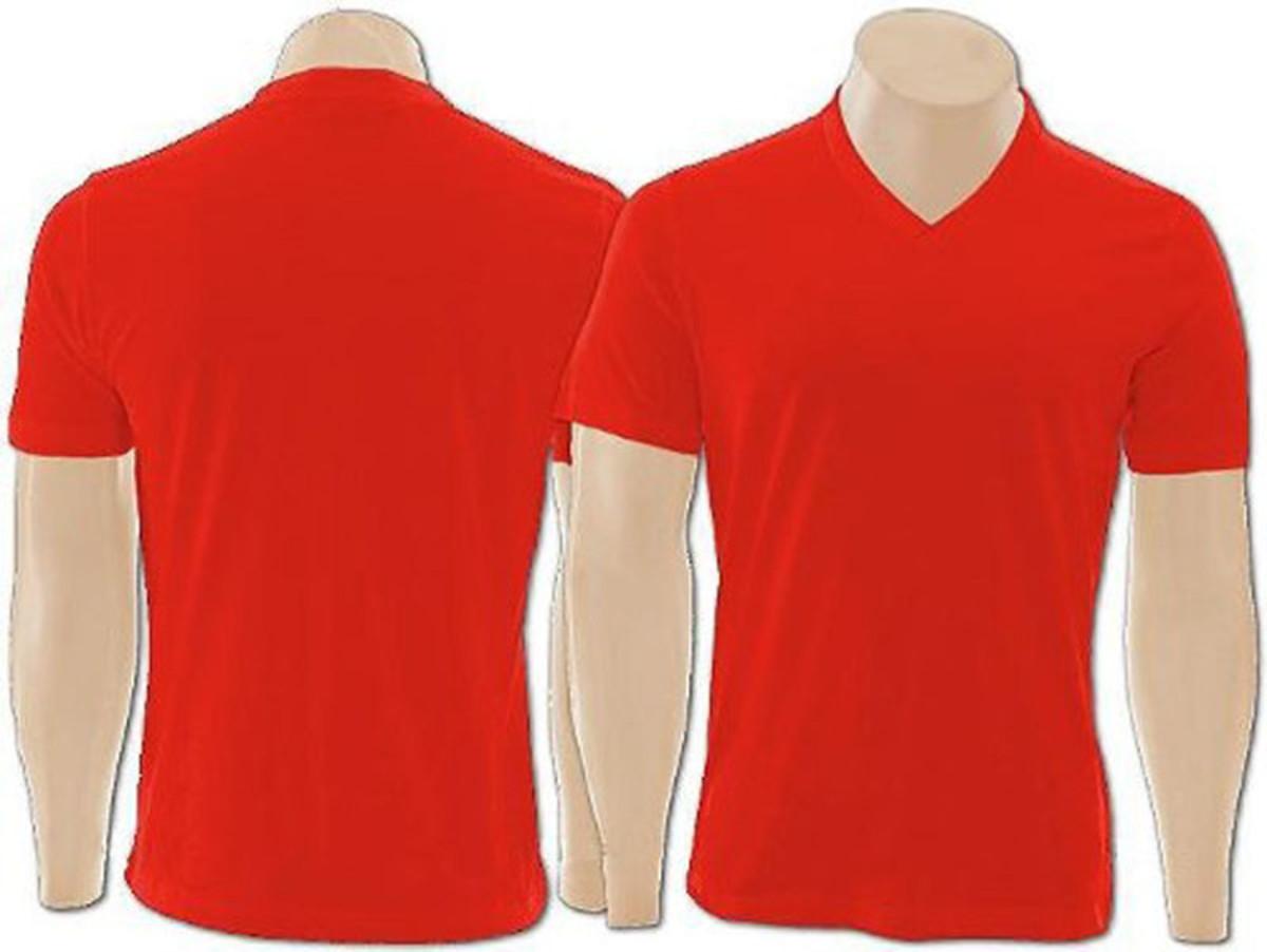 Camiseta 100% Algodão Gola V na cor Vermelho no Elo7  9088a5995ec8e