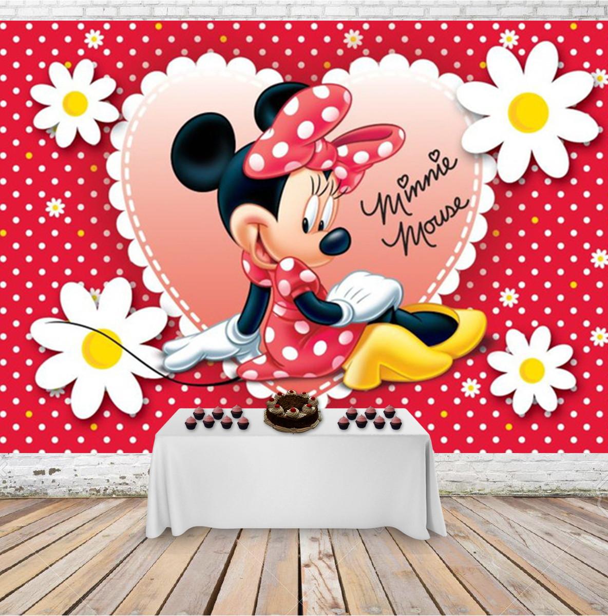 Painel Desenho 3d Infantil Festa Minnie Mouse Fofa 3x2m No Elo7