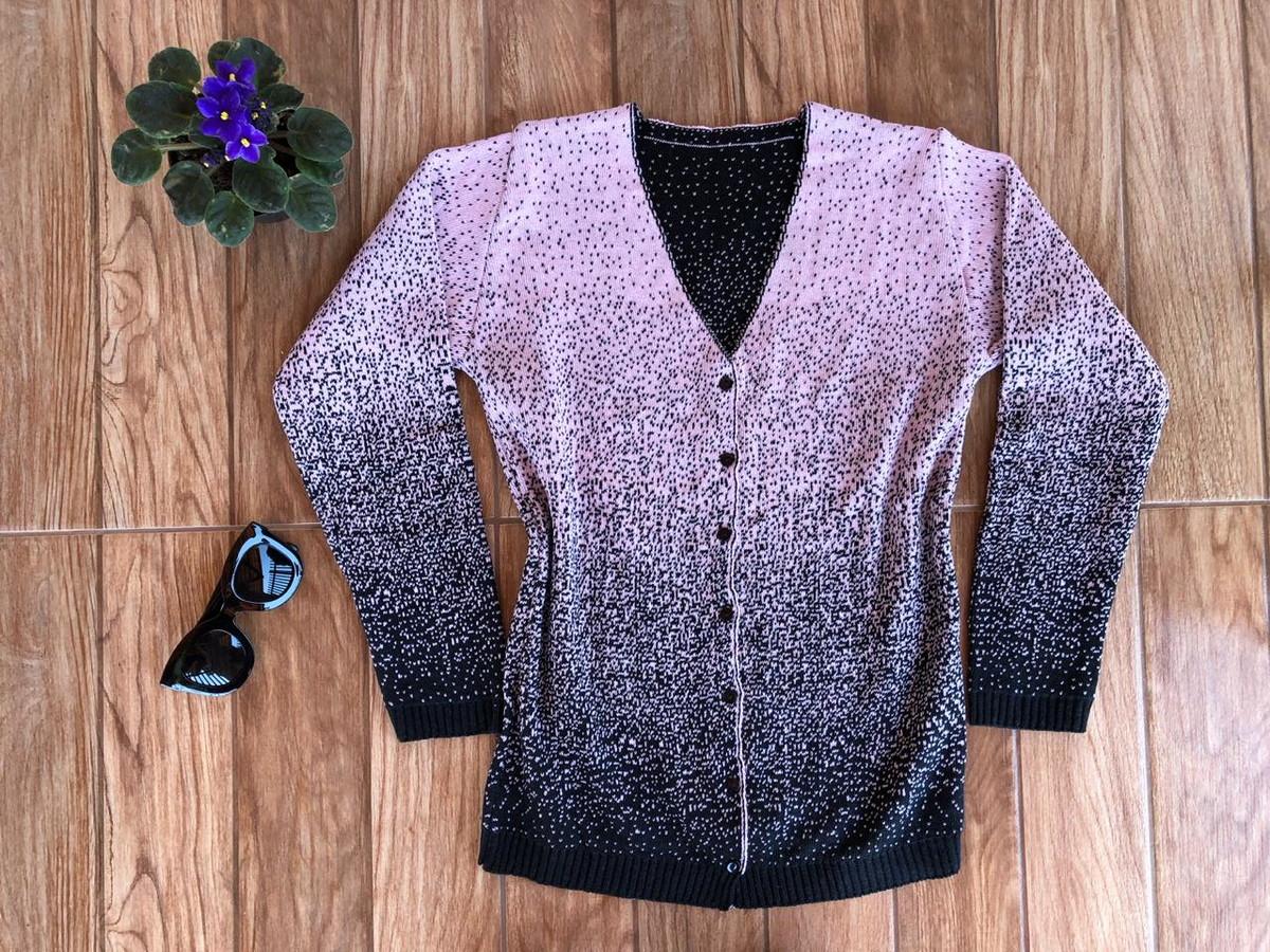 00449ea95c Blusa de Frio Cardigan Casaco de lã Tricot Cor Rosa no Elo7