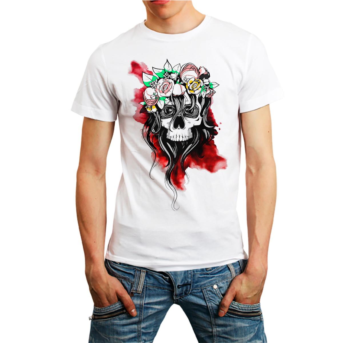 Camiseta Caveira Camisa Skull Roupa Masculina Branca BARATO no Elo7 ... 5a4c2c7832aa6