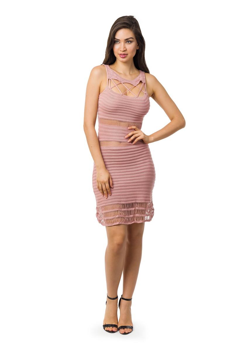 Vestido Curto Tricot Cordão Renda Feminino Rosa Claro 05036