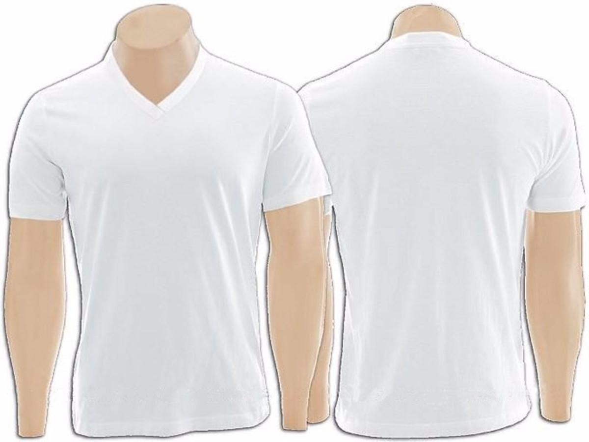 8adde47919 Camiseta 100% Algodão Gola V na cor Branco no Elo7