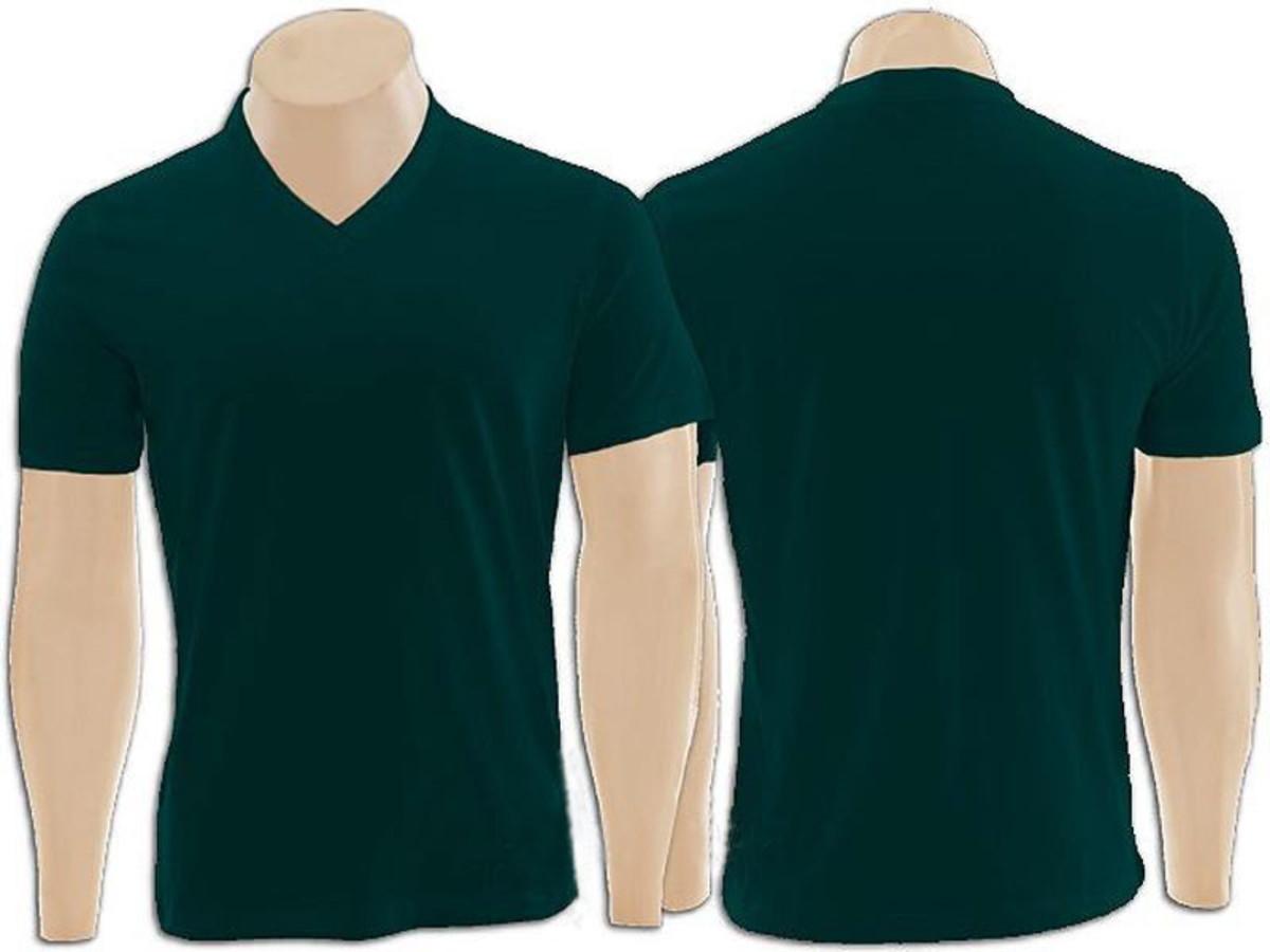 e7b2c3a1df Camiseta 100% Algodão Gola V na cor Verde Musgo no Elo7