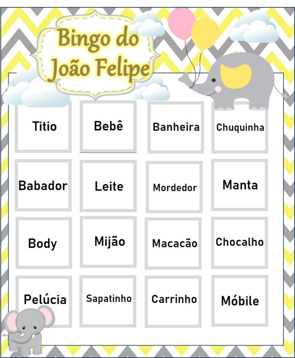 Cartela Baby Bingo para chá de bebê em pdf no Elo7 | Dona Festa Papelaria  Criativa (E6E1D5)