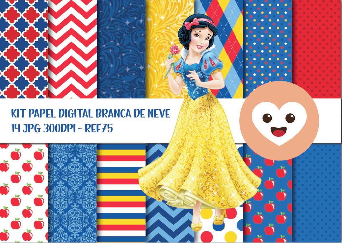 Kit Papel Digital Imagem Branca De Neve Princesa Disney Md75 No