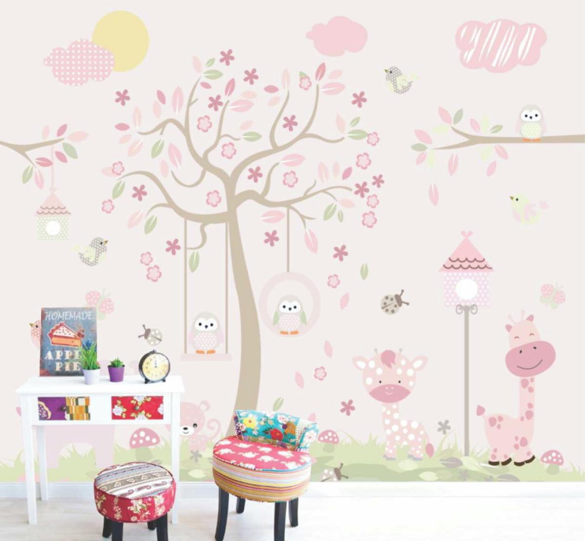 Adesivo Infantil Bebê Menina Arvore Bichos Fundo Rosa M72 No Elo7