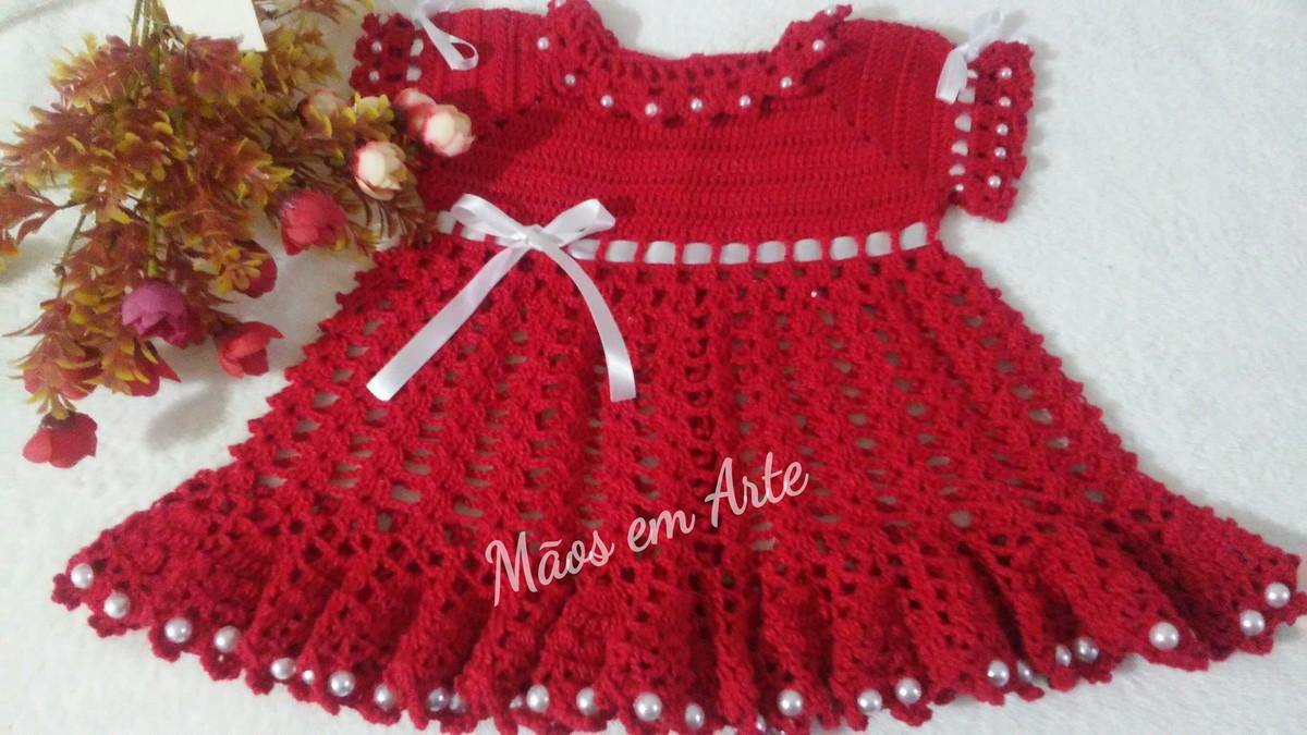 99a91d011cb8 Vestidinho de crochê princesinha 1 a 3 meses no Elo7   Mãos em Arte ...