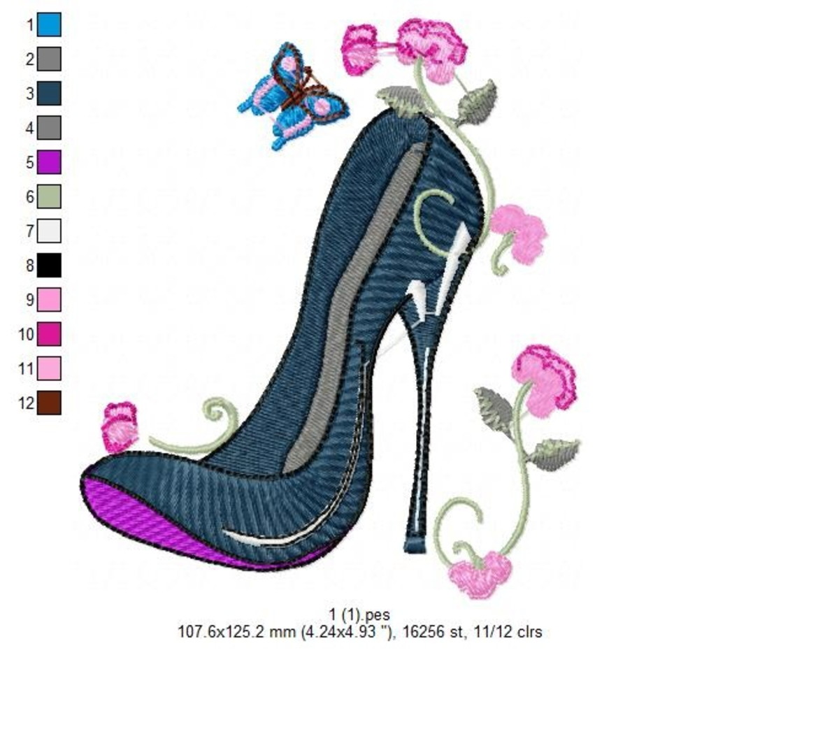 adf9636d Sapato Salto Alto 12 Matrizes Formato PES JEF DST XXX EXP no Elo7 ...