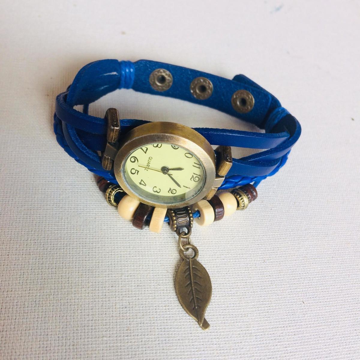 873031466a4 Relógio De Pulso Feminino em Couro Azul Marinho Vintage no Elo7 ...