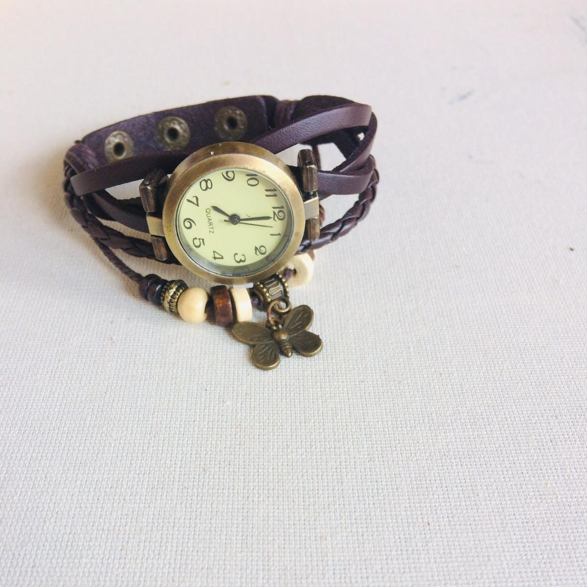 200632b9875 Relógio De Pulso Feminino em Couro Marrom Vintage no Elo7