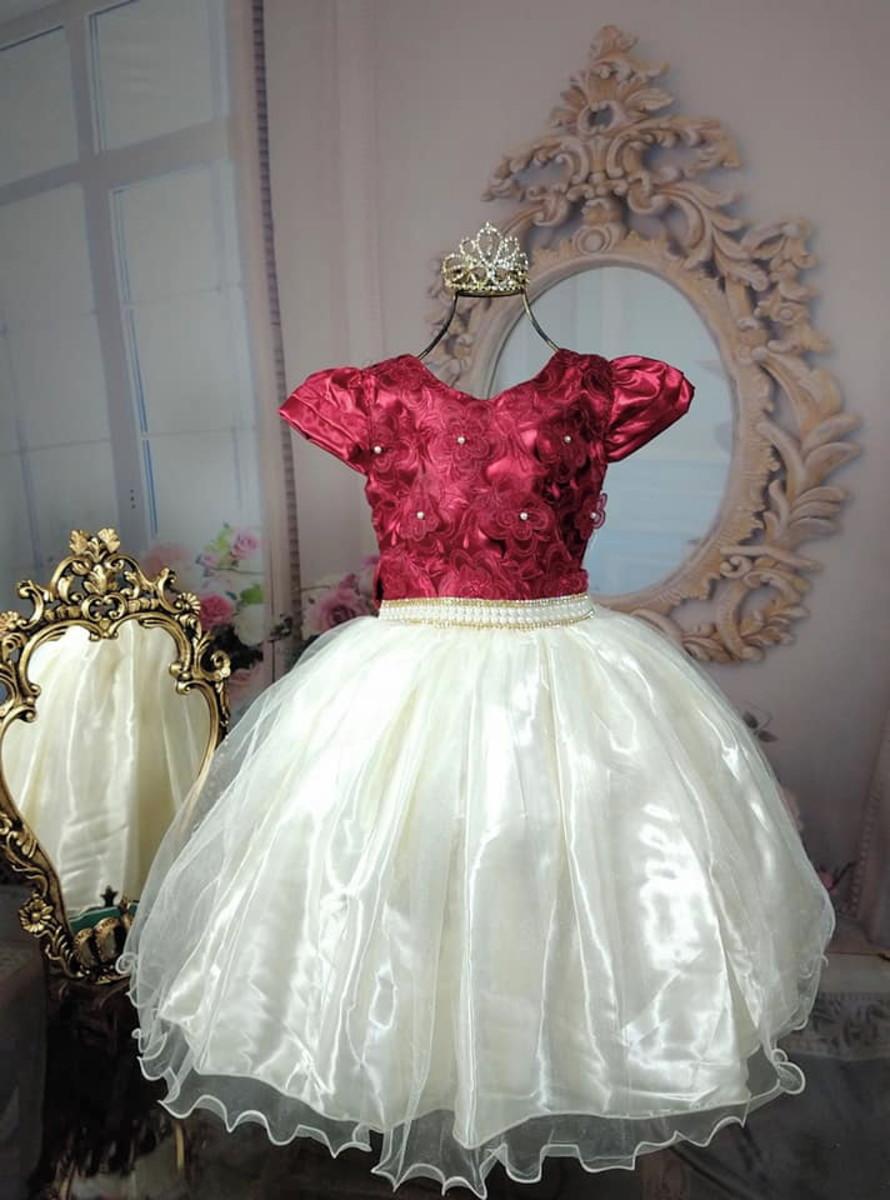 Vestido Infantil Luxo Realeza Vinho Marsala E Bege