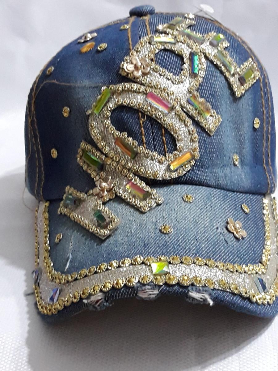 Bone Feminino Jeans Com Strass no Elo7  9128239f68b