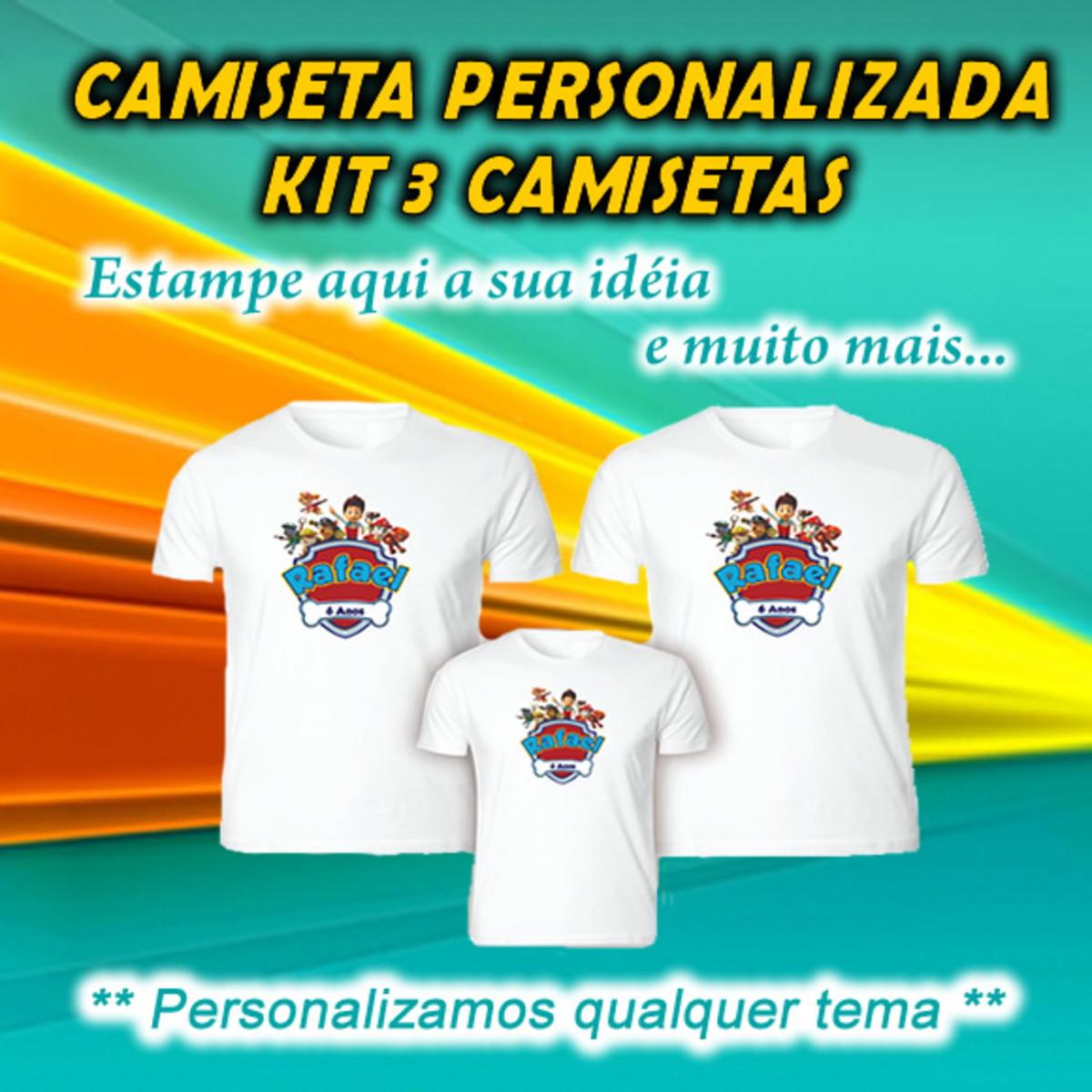 53908c027 Camiseta kit 3 unidades Personalizada no Elo7