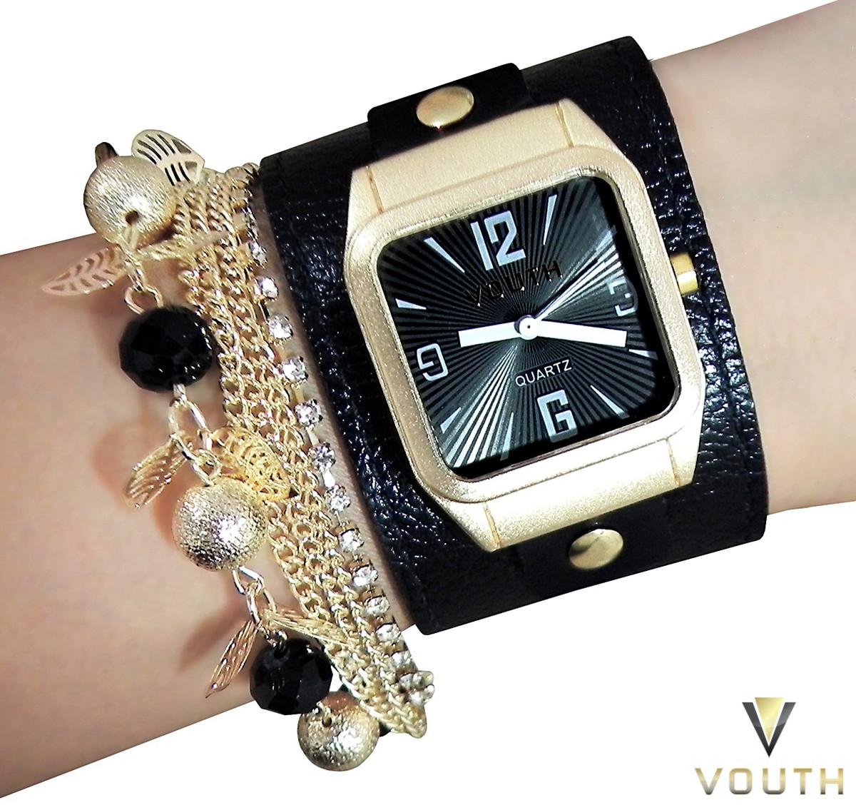 52025c988f1 Relógio Feminino Com Bracelete De Couro no Elo7