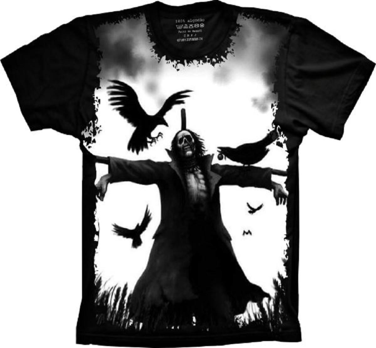 012dc8319a Camiseta Skull Caveira Espantalho e Corvos no Elo7