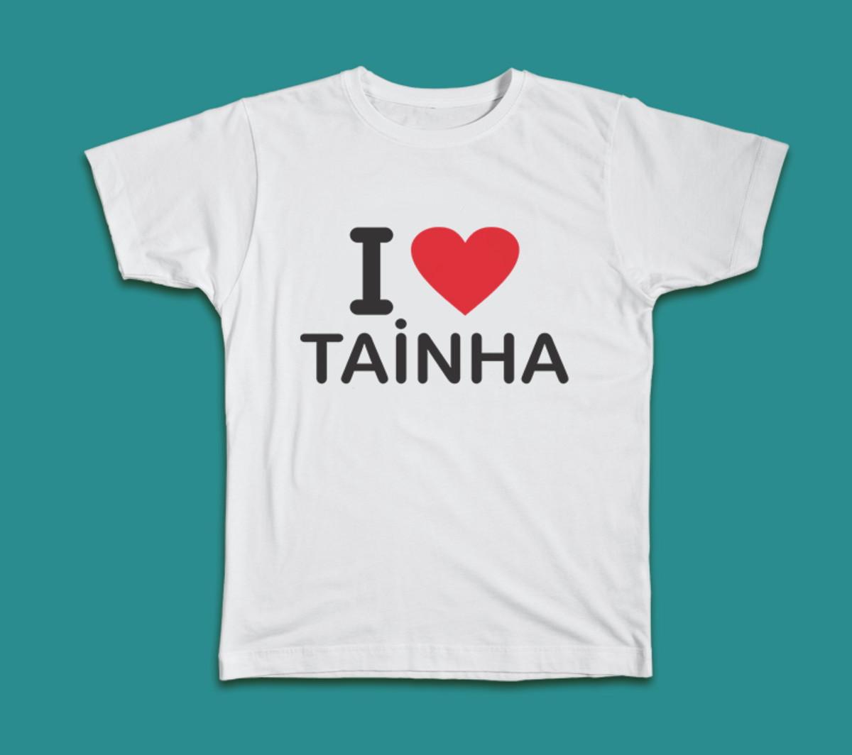 63fdb4b262 CAMISETA I LOVE TAINHA - tradicional ou baby look no Elo7