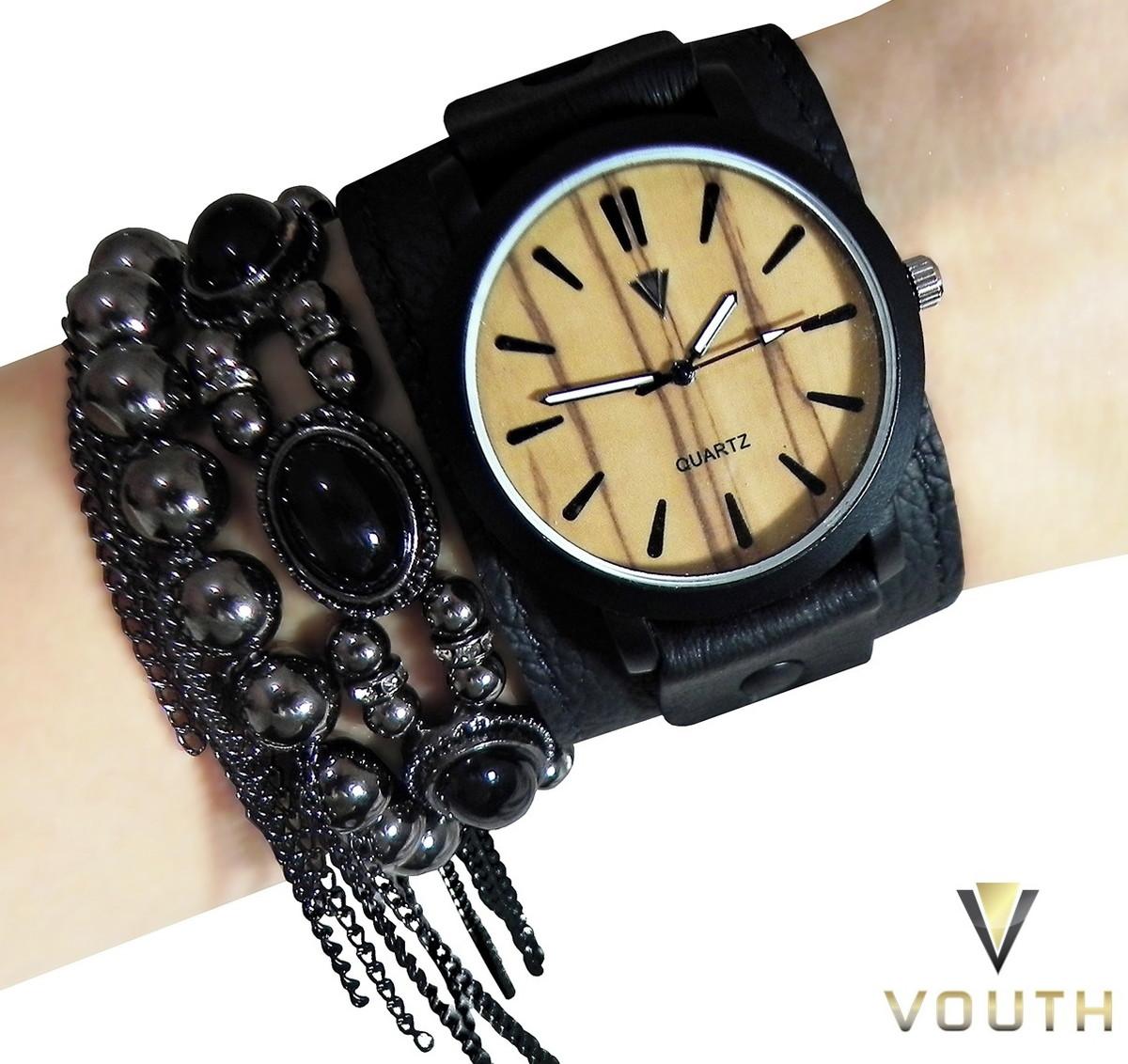 e625f57bbcd Relógio Feminino Com Bracelete Preto no Elo7