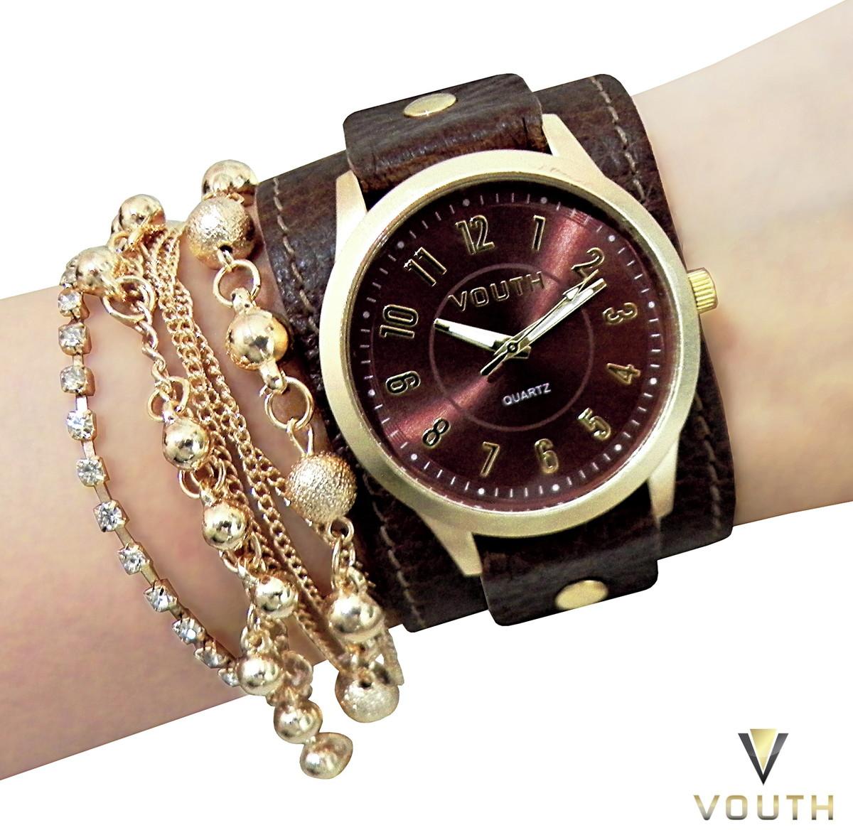 6195a11eb90 Zoom · Relógio Feminino Dourado Com Bracelete
