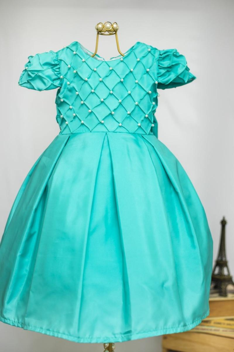 519e90fc2 Vestido infantil Verde Tiffany no Elo7 | AnaGiovanna Vestidos ...