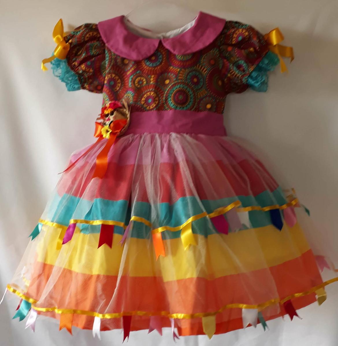 Vestido Infantil De Festa Junina Fashion Colorido