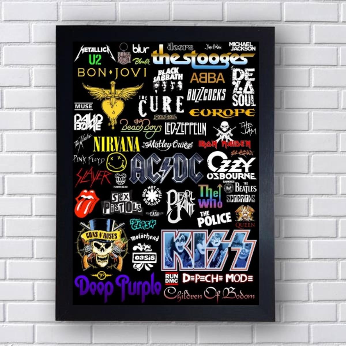 Quadro Decorativo Bandas De Rock Anos 70 E 80