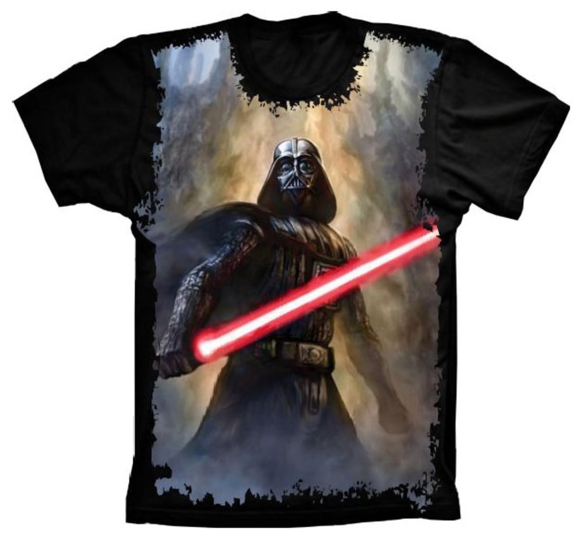 66049f7bfc Camiseta Star Wars Darth Vader Sabre de Luz no Elo7