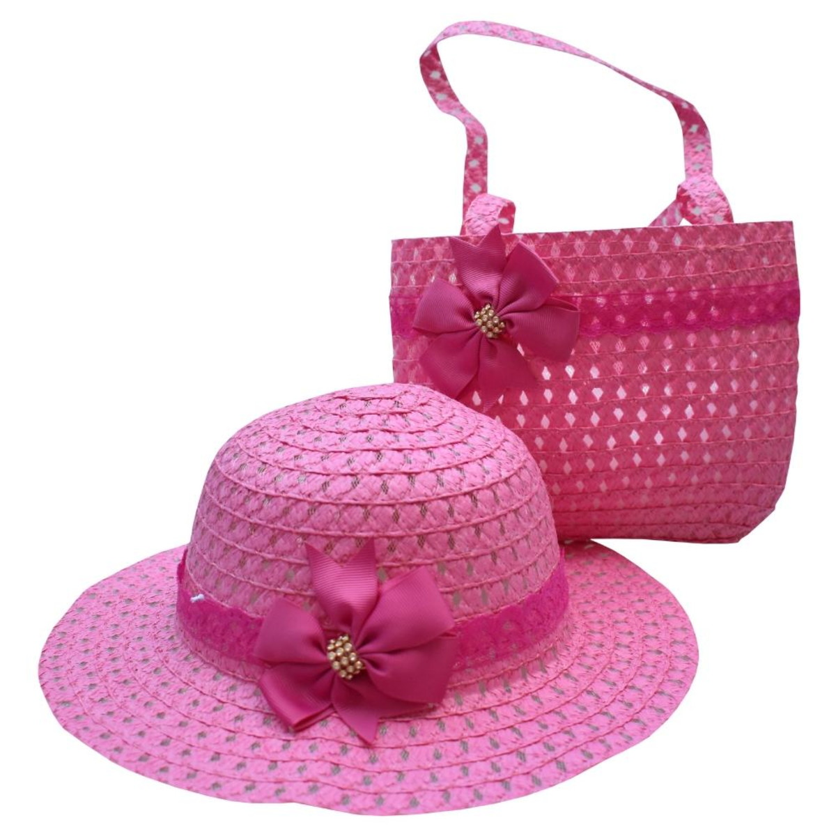 Chapéu De Praia Infantil Feminino E Bolsa De Praia Rosa Pink no Elo7 ... 0a6b2281b2a