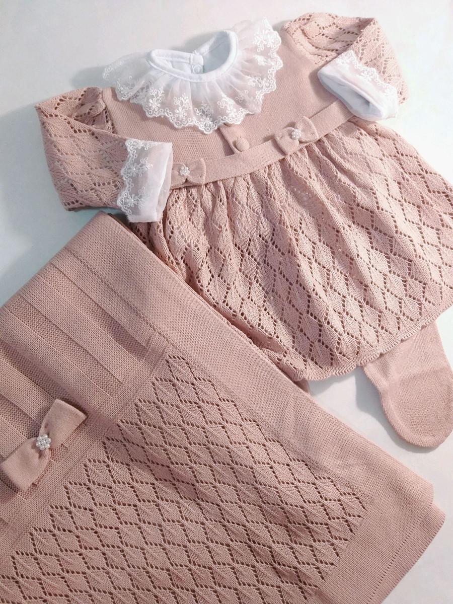 033200f9a Saida Maternidade 3 peças menina vestido rosa chá no Elo7