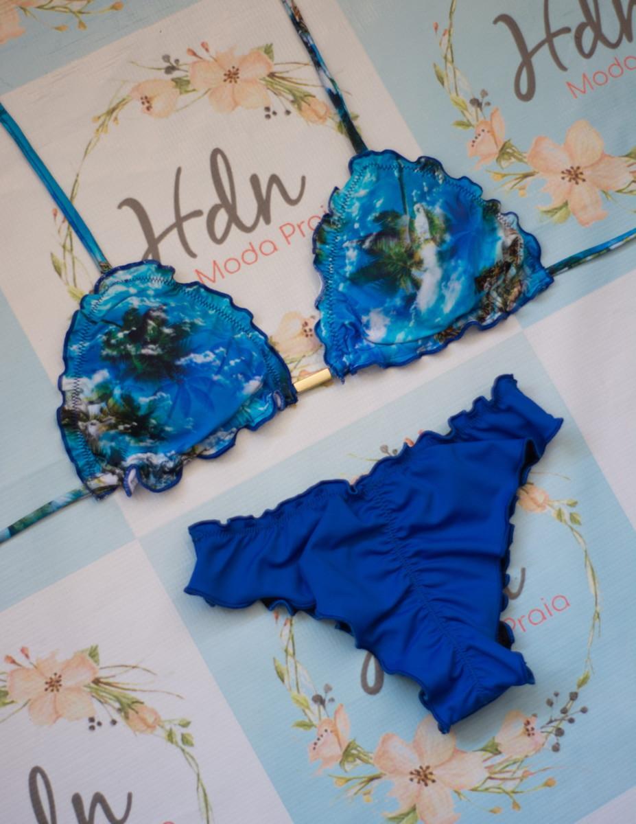 c214f222f5ef Biquíni Azul Royal Estampado no Elo7 | HDN Moda Praia (EA4563)