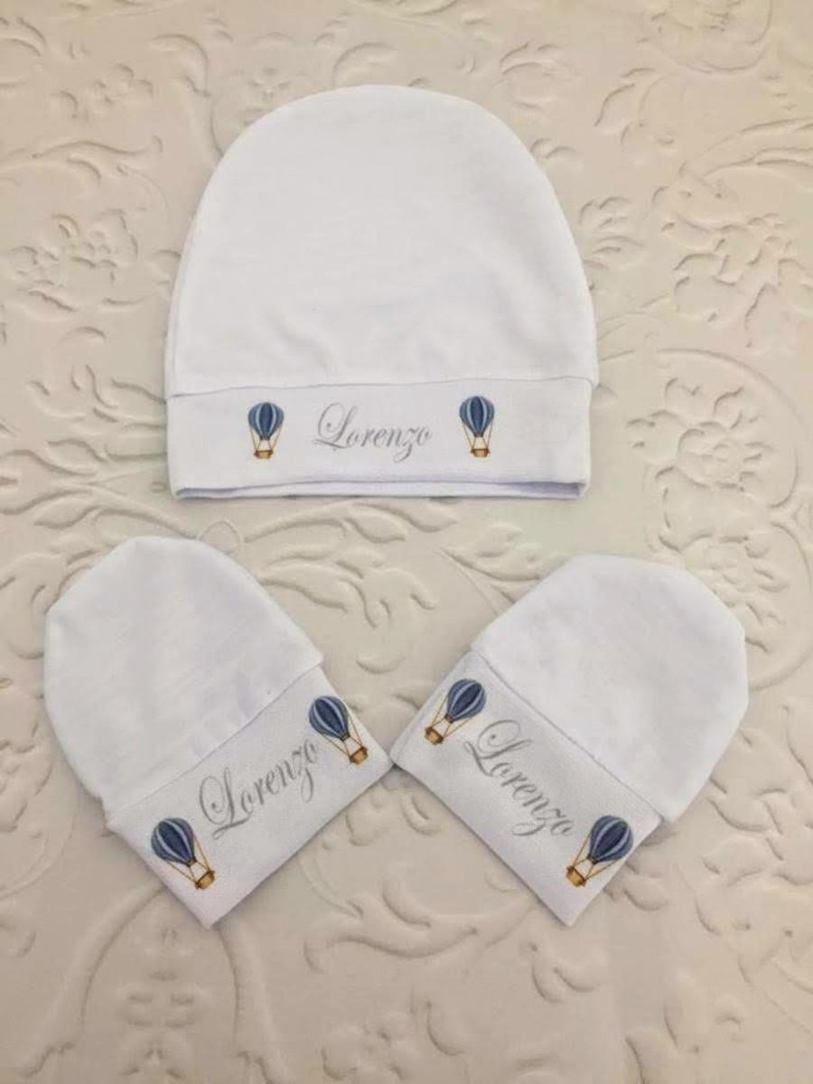 85b247070a25f2 Touca + luva para seu bebê com nome e estampa personalizada